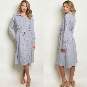 NEW Carrie Striped Shirt Dress - Blue